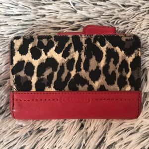 Coach wallet, leopard and red leather